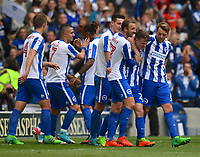 Brighton &amp; Hove Albion team celebrate Brighton &amp; Hove Albion's Solly March (2nd from right) scoring his sides 2nd goal<br /> <br /> Brighton 2 - 1 Wigan<br /> <br /> Photographer David Horton/CameraSport<br /> <br /> The EFL Sky Bet Championship - Brighton &amp; Hove Albion v Wigan Athletic - Monday 17th April 2017 - American Express Community Stadium - Brighton<br /> <br /> World Copyright &copy; 2017 CameraSport. All rights reserved. 43 Linden Ave. Countesthorpe. Leicester. England. LE8 5PG - Tel: +44 (0) 116 277 4147 - admin@camerasport.com - www.camerasport.com