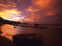 Sunset from Cruz Bay with boats<br />