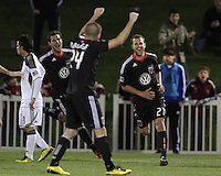 Daniel Woolard(21) of D.C. United after scoring against the Philadelphia Union during a play-in game for the US Open Cup tournament at Maryland Sportsplex, in Boyds, Maryland on April 6 2011. D.C. United won 3-2 after overtime penalty kicks.