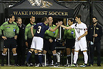 11 November 2015: Wake Forest captain Ian Harkes (16) meets Notre Dame captain Connor Klekota (3) before the pregame coin toss. The Wake Forest University Demon Deacons hosted the University of Notre Dame Fighting Irish at Spry Stadium in Winston-Salem, North Carolina an Atlantic Coast Conference Tournament Semifinal game and a 2015 NCAA Division I Men's Soccer match. Notre Dame won the game 1-0 and advanced to the ACC Championship final.