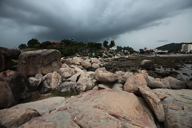 A storm gathers over the Hon Chong Promontory in Nha Trang, Vietnam. July 14, 2011.
