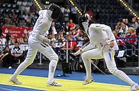 European Championships Fencing 2010 / Fecht Europameisterschaft 2010 in Leipzig - Competition Championat d'europe - im Bild: Imke Duplitzer ( left, GER , epee / Degen ) during her match in quarter final against Yana Shemyakina (UKR) . Foto: Norman Rembarz..Norman Rembarz , Autorennummer 41043728 , Augustenstr. 2, 04317 Leipzig, Tel.: 01794887569, Hypovereinsbank: BLZ: 86020086, KN: 357889472, St.Nr.: 231/261/06432 - Jegliche kommerzielle Nutzung ist honorar- und mehrwertsteuerpflichtig! Persönlichkeitsrechte sind zu wahren. Es wird keine Haftung übernommen bei Verletzung von Rechten Dritter. Autoren-Nennung gem. §13 UrhGes. wird verlangt. Weitergabe an Dritte nur nach  vorheriger Absprache..