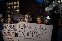 NEW YORK,NY December 16,2016: A woman holds a sign during a vigil to protest against the Syrian government and the killing of innocent people in Washington Square Park, in New York City, December  16,2016. Photo by VIEWpress/Maite H. Mateo