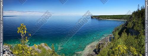 Panoramic scenery of Georgian Bay, lake Huron at Bruce Peninsula National Park, Ontario, Canada
