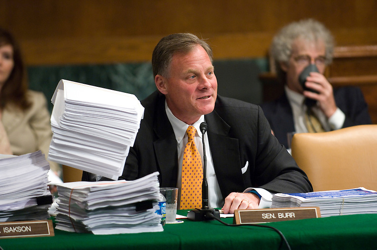 WASHINGTON, DC - June 17: Sen. Richard M. Burr, R-N.C., surrounded by copies of the proposed bill, during the first day of the Senate Health, Education, Labor and Pensions markup of comprehensive healthcare legislation. (Photo by Scott J. Ferrell/Congressional Quarterly)