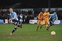 Blackpool's Mark Cullen scores his sides second goal from the penalty spot<br /> <br /> Photographer Kevin Barnes/CameraSport<br /> <br /> The EFL Sky Bet League Two - Saturday 18th March 2017 - Newport County v Blackpool - Rodney Parade - Newport<br /> <br /> World Copyright &copy; 2017 CameraSport. All rights reserved. 43 Linden Ave. Countesthorpe. Leicester. England. LE8 5PG - Tel: +44 (0) 116 277 4147 - admin@camerasport.com - www.camerasport.com