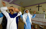 Pakistani students perform a play in a school for poor children held in St. Mathew's Church in the Punjab village of Bajasinsingh. This school is sponsored by the Church of Pakistan.
