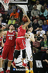 Davidson's Jordan Barham (5) hauls down a rebound while fouling Iowa's Adam Woodbury (34) during 2015 NCAA Division I Men's Basketball Championship March 20, 2015 at the Key Arena in Seattle, Washington.  Iowa beat Davidson 83-52.   ©2015. Jim Bryant Photo. ALL RIGHTS RESERVED.