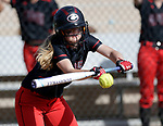 Cheshire, CT- 19 May 2017-051917CM07-  Cheshire's Mia Juodiatis lays down a bunt during their SCC softball matchup against Mercy on Friday.  Cheshire would go onto win, 8-1.  Christopher Massa Republican-American