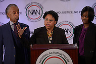 Washington, DC - January 18, 2016: Jennifer Pinckney (c), widow of Reverend Clementa C. Pinckney - the late Pastor of Mother Emanuel African Methodist Episcopal Church in Charleston, SC - speaks during the National Action Network's MLK Day Awards, as Rev. Al Sharpton, NAN president, and Clementa's sister look on. Pinckney accepted an award on behalf of her late husband, who was among nine people gunned down by Dylann Roof. January 18, 2016  (Photo by Don Baxter/Media Images International)