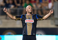 Conor Casey (6) of the Philadelphia Union questions a call by a referee during a Major League Soccer game at PPL Park in Chester, PA.  Philadelphia Union tied the Portland Timbers, 0-0.