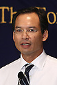 May 21, 2010 - Tokyo, Japan - Thailand's Finance Minister Korn Chatikavanij speaks during a press-conference hold at the Foreign Press Correspondent of Japan in Tokyo, May 21, 2010. Korn said that early elections are a possibility, and the current government was unlikely to stay in office for its full term through 2012, according to media reports.