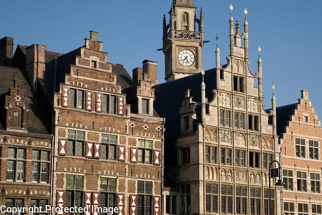 Facades on Canal Side, Ghent, Belgium, Europe