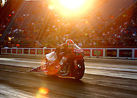Jul 8, 2016; Joliet, IL, USA; NHRA pro stock motorcycle rider Hector Arana Jr during qualifying for the Route 66 Nationals at Route 66 Raceway. Mandatory Credit: Mark J. Rebilas-USA TODAY Sports
