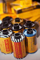 An assortment of vintage and current rolls of Eastman Kodak film are seen in this still life in New York on Thursday, January 19, 2012.  Eastman Kodak Co. filed for Chapter 11 bankruptcy protection today. The iconic American company, started in 1880. owns 1,100 digital patents which are a major portion of the company's value. (© Richard B. Levine)