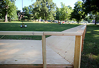 NWA Democrat-Gazette/DAVID GOTTSCHALK  A walkway and garden area are in position Monday, May 15, 2017, on the campus of the Veterans Health Care System of the Ozarks, for the arrival of the The Vietnam Memorial Moving Wall in Fayetteville. The half scale replica of the Vietnam Memorial Wall will be on the campus from May 18-22.