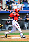 4 March 2011: Washington Nationals outfielder Nyjer Morgan chips a bat during Spring Training action against the Atlanta Braves at Space Coast Stadium in Viera, Florida. The Braves defeated the Nationals 6-4 in Grapefruit League action. Mandatory Credit: Ed Wolfstein Photo