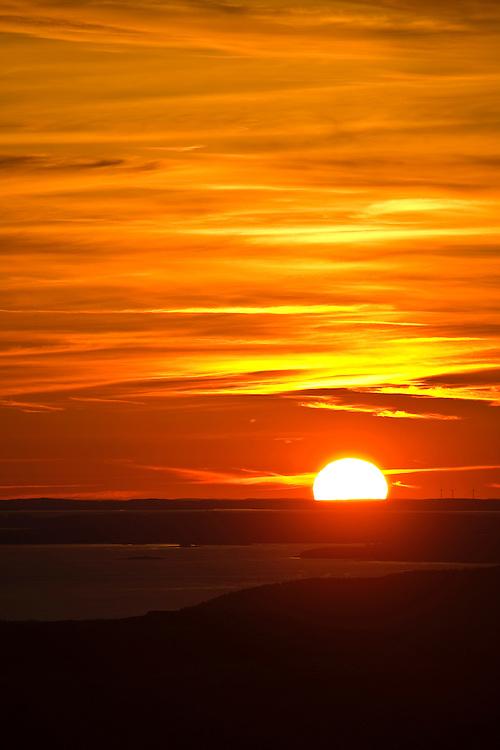 Sunset over Mount Desert Island at Acadia National Park, Maine