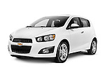White 2012 Chevrolet Sonic LT small car isolated on white background with clipping path