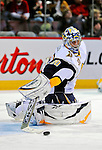 20 December 2008: Buffalo Sabres' goaltender Ryan Miller warms up prior to facing the Montreal Canadiens at the Bell Centre in Montreal, Quebec, Canada. With both teams coming off wins, the Canadiens extended their winning streak by defeating the Sabres 4-3 in overtime. ***** Editorial Sales Only ***** Mandatory Photo Credit: Ed Wolfstein Photo