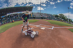 31 July 2016: The lines of the Batter's Box are painted prior to a Single-A minor league baseball game between the Connecticut Tigers and the Vermont Lake Monsters at Centennial Field in Burlington, Vermont. The Lake Monsters edged out the Tigers 4-3 in NY Penn League action.  Mandatory Credit: Ed Wolfstein Photo *** RAW (NEF) Image File Available ***