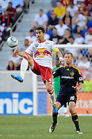 Juan Pablo Angel (9) of the New York Red Bulls plays the ball. The Los Angeles Galaxy defeated the New York Red Bulls 1-0 during a Major League Soccer (MLS) match at Red Bull Arena in Harrison, NJ, on August 14, 2010.
