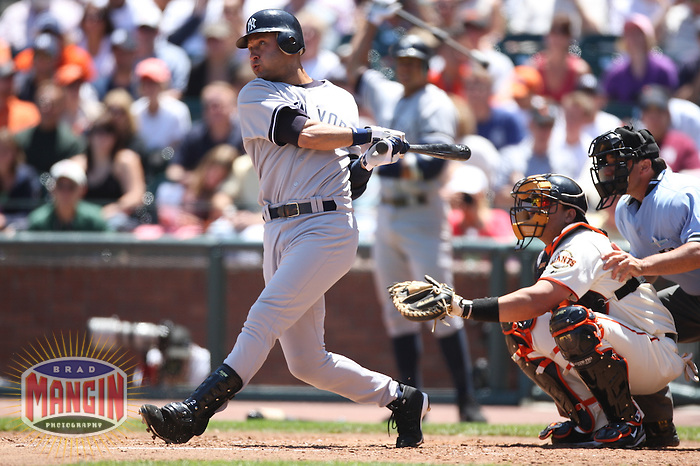 SAN FRANCISCO - June 24:  Derek Jeter of the New York Yankees bats during the game against the San Francisco Giants at AT&T Park in San Francisco, California on June 24, 2007. Photo by Brad Mangin