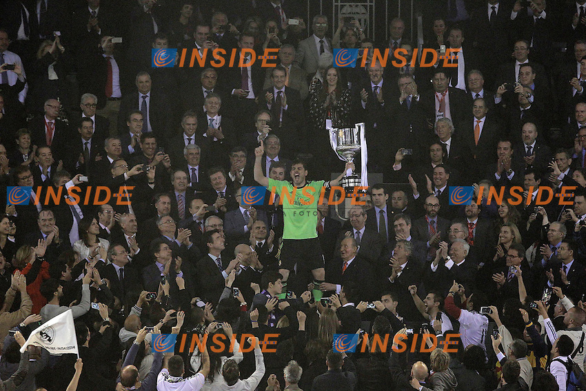 Real Madrid's Iker Casillas celebrates the victory in the spanish KIng's Cup Final match.April 16,2014. (ALTERPHOTOS/Acero) <br /> Finale Coppa del Re<br /> Real Madrid Barcellona <br /> Foto Insidefoto