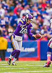 19 October 2014: Minnesota Vikings punter Jeff Locke kicks for 48 yards in the first quarter against the Buffalo Bills at Ralph Wilson Stadium in Orchard Park, NY. The Bills defeated the Vikings 17-16 in a dramatic, last minute, comeback touchdown drive. Mandatory Credit: Ed Wolfstein Photo *** RAW (NEF) Image File Available ***