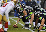 SEATTLE, WA. - DECEMBER 23: Center Max Unger #60 of the Seattle Seahawks gets ready to snap the ball during the first quarter  of the game against the San Francisco 49ers at CenturyLink Field on December 23, 2012 in Seattle,Wa. (Photo by Steve Dykes/Getty Images) *** Local Caption *** Max Unger