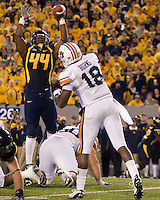 October 23, 2008: WVU linebacker Morty Ivy deflects a pass from Auburn quarterback Kodi Burns. The West Virginia Mountaineers defeated the Auburn Tigers 34-17 on October 23, 2008 at Mountaineer Field, Morgantown, West Virginia.
