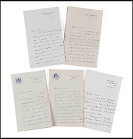 BNPS.co.uk (01202 558833)<br /> Pic: Dreweatts&amp;Bloomsbury/BNPS<br /> <br /> Letters by Frances Stevenson written during the Paris peace conference in 1919.<br /> <br /> Never-seen-before photographs showing the former Prime Minister David Lloyd George playing with his secret lovechild have been unearthed in a remarkable archive.<br /> <br /> The Liberal politician had an affair with his secretary Frances Stevenson, who he nicknamed 'Pussy', and the pair went on to have daughter Jennifer in 1929.<br /> <br /> But Lloyd George never publicly acknowledged Jennifer as his own and even her mother went through the ruse of adopting her to further distance the former Prime Minister from the girl.<br /> <br /> The photos and letters between the pair are now coming up for sale at auctioneers Dreweatts and Bloomsbury.