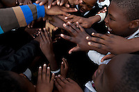 12 May 2011, Leribe, Leribe District, Lesotho. Kick4Life is a sports-based programme aimed at educating children between 12-19 on issues around HIV/AIDS, gender and other life skills. It is implemented at Mount Royal Primary school in Leribe.  Form A peer educator, Limpho Molelekoa (15) takes charge at the school that have integrated hearing-impaired children with hearing children.
