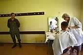 The last draft.<br /> Andrzej Kasprzak is having his hair cut short as a part of preparations when entering the army.<br /> Bartoszyce, Poland, June 2008.<br /> (Photo by Piotr Malecki / Napo Images)<br /> <br /> Ostatni pobor.<br /> Strzyzenie - wcielenie do jednostki w Bartoszycach.<br /> n/z Andrzej Kasprzak<br /> 6/2008<br /> Fot: Piotr Malecki/ Napo Images