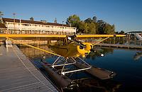 Piper Super Cub on Floats docked at the Sky Lark Shores Resort dock, Seaplane Splash-In, Lakeport, California, Lake County, California