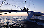 Delivery onboard the Hydroptere between Brest Brittany, France to Cowes, Isle of Wight, United Kingdom..Now the fastest sailing boat in the world with an average speed of 51.36 knots over 500 meters and 50.17 knots over one nautical mile, the flying trimaran is currently heading to the open sea.