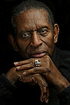 NBA pioneer Earl Lloyd poses with his Hall Of Fame ring at his home Wednesday, Oct. 19, 2005 in Croossville, Tenn. Lloyd was the first African-American to play basketball in the NBA. (AP Photo/Wade Payne)