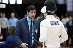 11 February 2017: Duke coach Slava Zingerman (ISR) talks to Aidan McGinnis (right) during Epee. The Duke University Blue Devils hosted the University of North Carolina Tar Heels at Card Gym in Durham, North Carolina in a 2017 College Men's Fencing match. Duke won the dual match 19-8 overall, 6-3 Foil, 6-3 Epee, and 7-2 Saber.