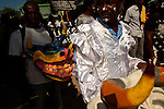 A Kanaval procession, at times shifting moods from somber to joyous, moves through the streets of Jacmel almost a month after the 7.0 earthquake. The town known for its arts was hard-hit by the temblor. The 7.0 earthquake that devastated parts of Haiti on January 12 killed hundreds of thousands of people. January's earthquake killed hundreds of thousands of people and caused significant and lasting structural and economic damage in the Caribbean nation.