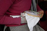 Dehradun, India.  Muslim Indian Woman Embroidering.