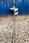 Tied to shore, Balboa Island, CA.