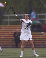 Boston College midfielder Caroline Martignetti (5) passes the ball. Boston College defeated University of New Hampshire, 11-6, at Newton Campus Field, May 1, 2012.