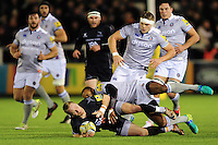 Alex Tait of Newcastle Falcons is tackled to ground by Aled Brew of Bath Rugby. Aviva Premiership match, between Newcastle Falcons and Bath Rugby on January 6, 2017 at Kingston Park in Newcastle upon Tyne, England. Photo by: Patrick Khachfe / Onside Images