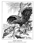 """Injured Arrogance. German Eagle. """"Who dares to come between me and my neutrals?"""" (the German eagle ontop of a mountain goat as British and French sailors climb up to attempt a rescue in Norway)"""