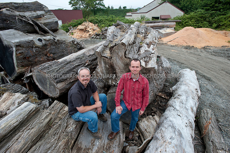 7/28/2010--Seattle, WA USA..Meyer Wells builds modern furniture from reclaimed urban trees in their facility in Seattle, WASH. Seth Meyer and John Wells started the company have successfully merged their environmental idealism with a business model that plays right into the Pacific Northwest's passionfor sustainable forests. ..Meyer Wells harvests development-doomed or storm-damaged urban trees from Seattle neighborhoods and builds high-end custom furniture. The business is four years old and has grown every year in defiance of the recession; in 2009 they had $850,000 in gross sales. ..©2010 Stuart Isett. All rights reserved.