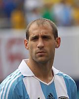 Argentina defender Pablo Zabaleta (4). In an international friendly (Clash of Titans), Argentina defeated Brazil, 4-3, at MetLife Stadium on June 9, 2012.