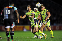 Danny Cipriani of Sale Sharks receives the ball. Aviva Premiership match, between Harlequins and Sale Sharks on November 6, 2015 at the Twickenham Stoop in London, England. Photo by: Patrick Khachfe / Onside Images