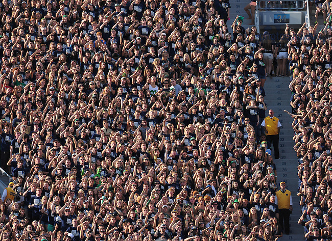 Sep 8, 2012; Student section in Notre Dame Stadium...Photo by Matt Cashore