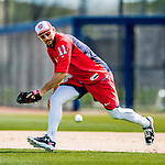 27 February 2017: Washington Nationals first baseman Ryan Zimmerman practices infield drills during a Spring Training workout at the Ballpark of the Palm Beaches in West Palm Beach, Florida. Mandatory Credit: Ed Wolfstein Photo *** RAW (NEF) Image File Available ***