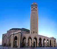 The Hassan II Mosque in Casablanca, Morocco, is the largest mosque in the country and the 7th largest mosque in the world.